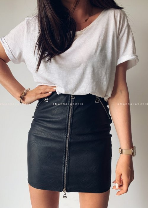 PRACTICE zip eco leather skirt