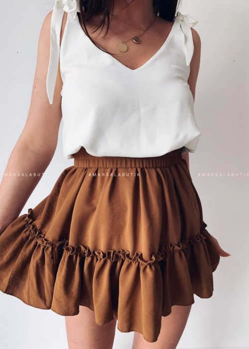 Frill brown dress – FIRST