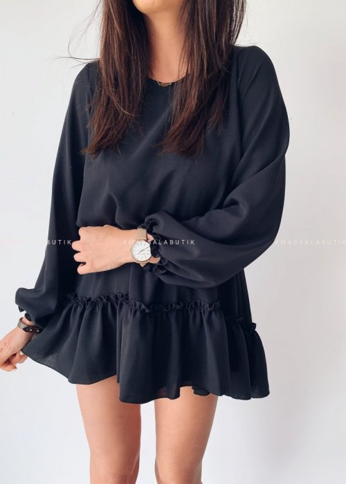 MAYBE DRESS IN BLACK WITH FRILL