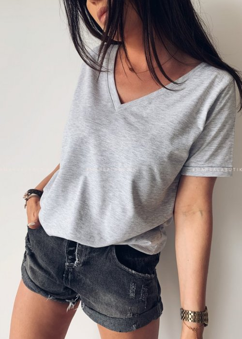 T shirt V NECK BASIC gray