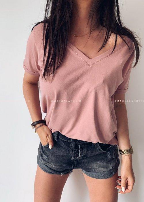 T shirt V NECK BASIC BY MARSALA brudny róż