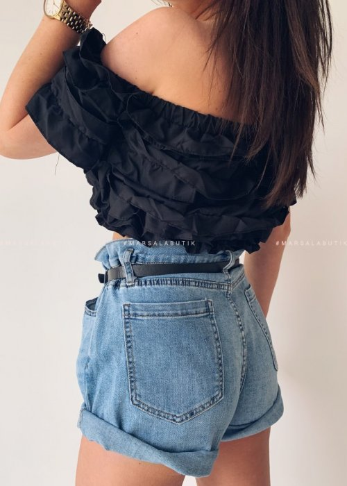 Jeans shorts with belt UNITED