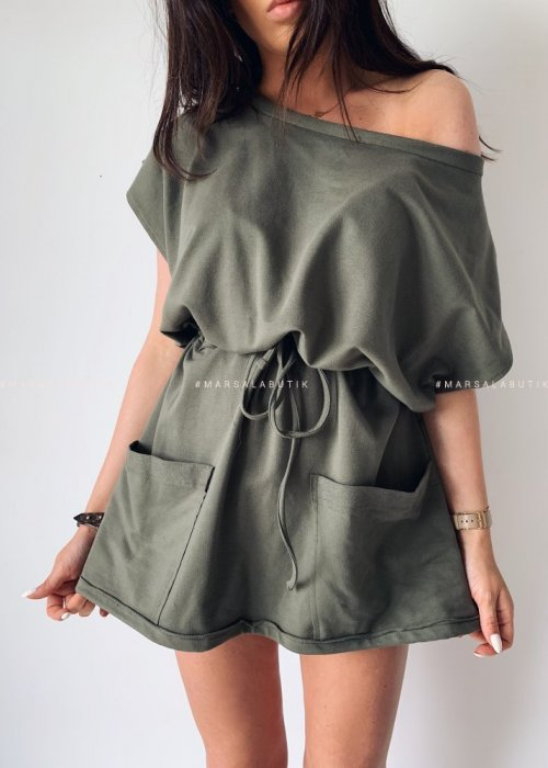 Dress JERSEY BY MARSALA khaki