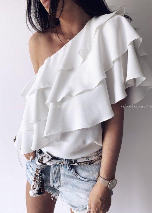 Bluzka WINGS na jedno ramię biała