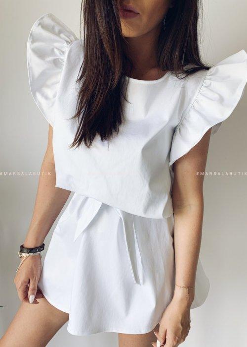 Sukienka CHELSEA BY MARSALA biała z falbankami