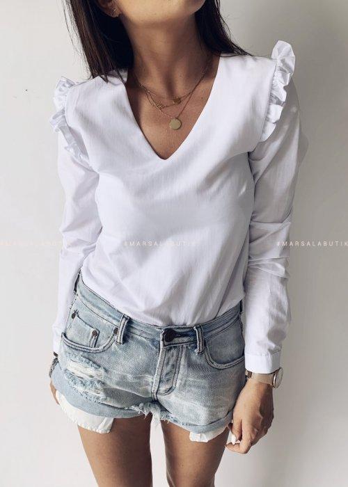 Bluzka SILK BY MARSALA z falbanką na rękawie biała