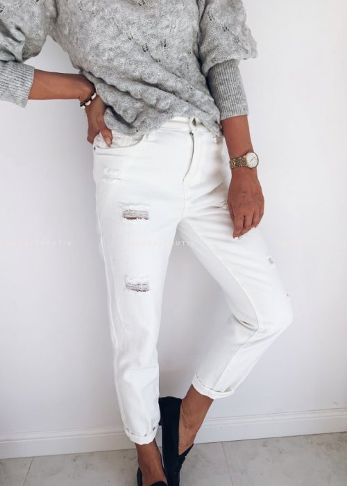 Spodnie boyfriendy białe z przetarciami - GIRL GANG