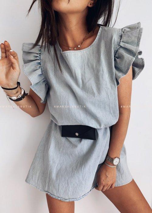 Sukienka CHELSEA BY MARSALA sprany jeans z falbankami