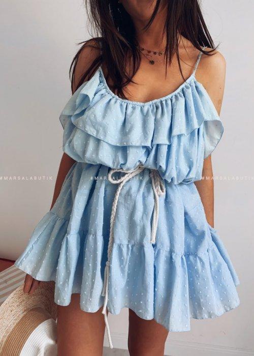Sukienka MALIBU BY MARSALA blękit kropeczki