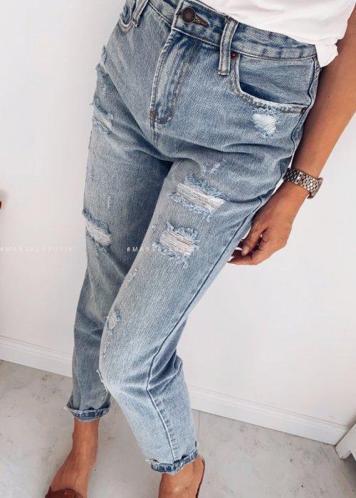 Spodnie boyfriendy jeansowe z przetarciami - GIRL GANG