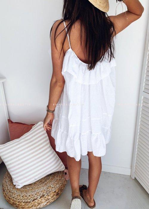 Sukienka MALIBU BY MARSALA biała kropeczki