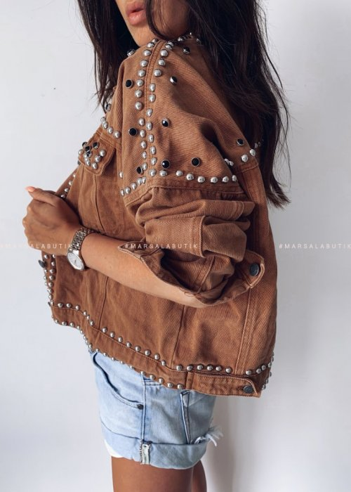 Jacket BAD GUY studded camel