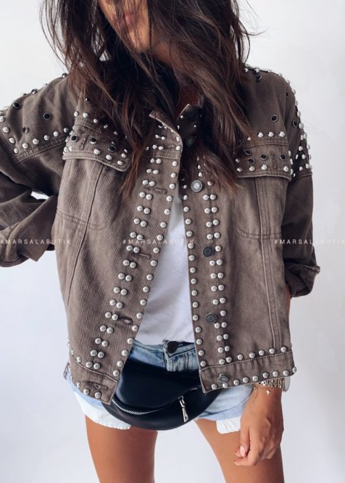 Jacket BAD GUY studded mocca