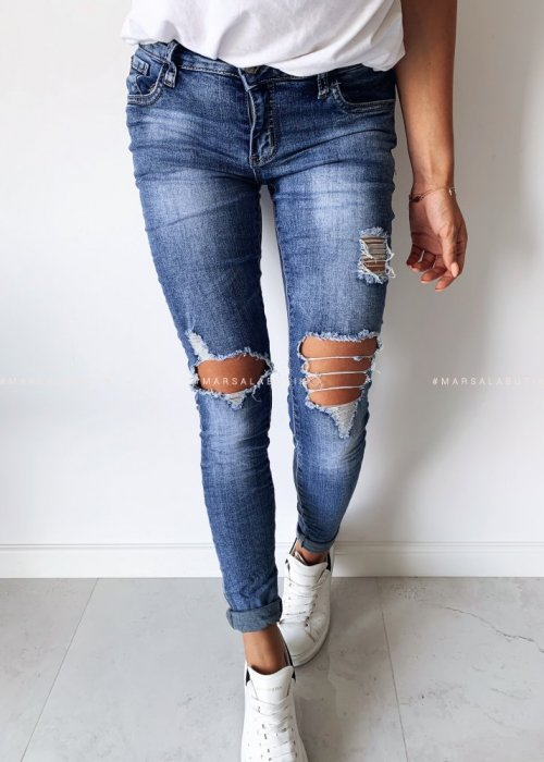Ruffled denim DESTROY ripped