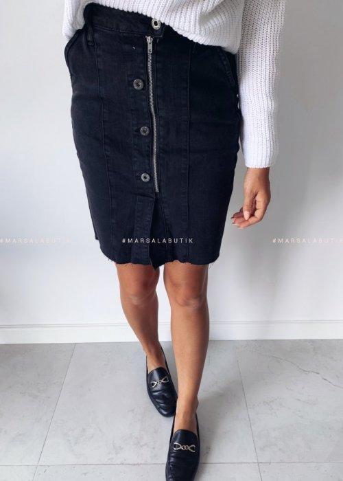Skirt MIDDLE denim midi black