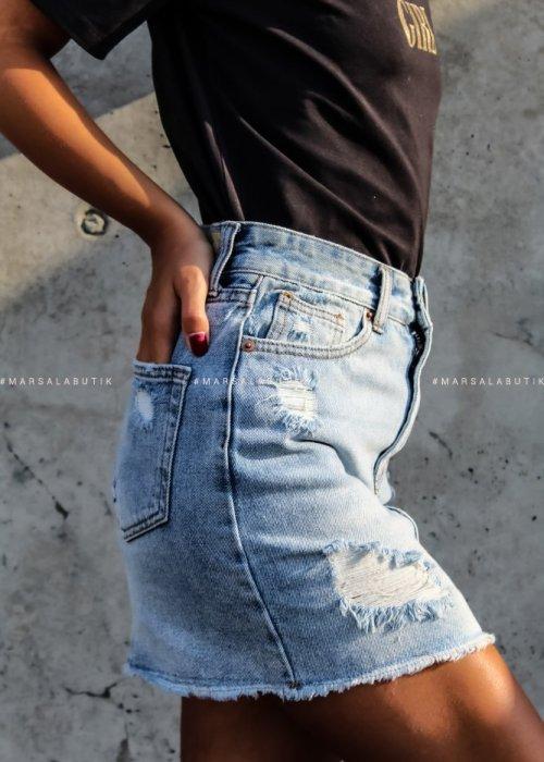 Spódniczka CHEERS jasny jeans x Karolina