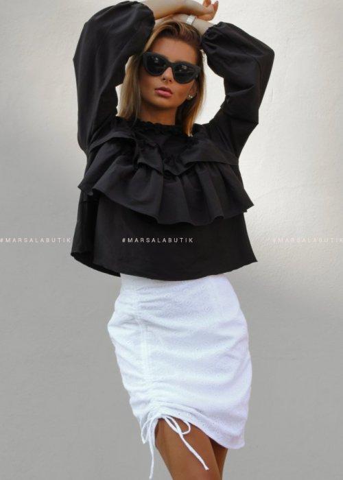 Bluzka CARMEN BY MARSALA z falbankami czarna x Karolina