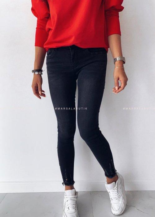 Spodnie jeansy BLACK ZIP z suwakiem