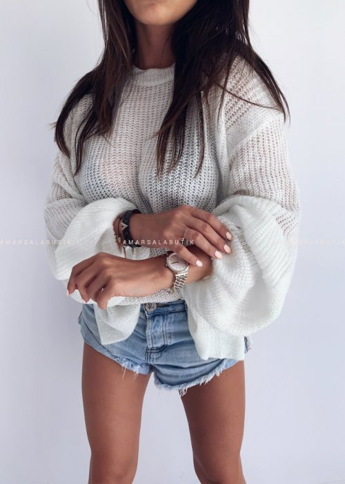 Sweter PUFFY z bufiastym rękawem ecru