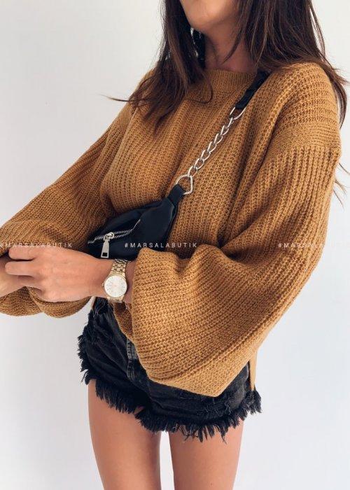 Sweter PUFFY z bufiastym rękawem ceglany