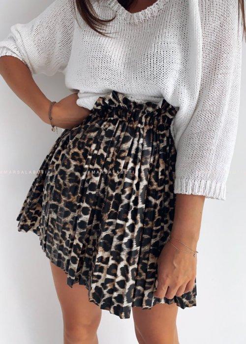 SARAH skirt eco leather leopard spots