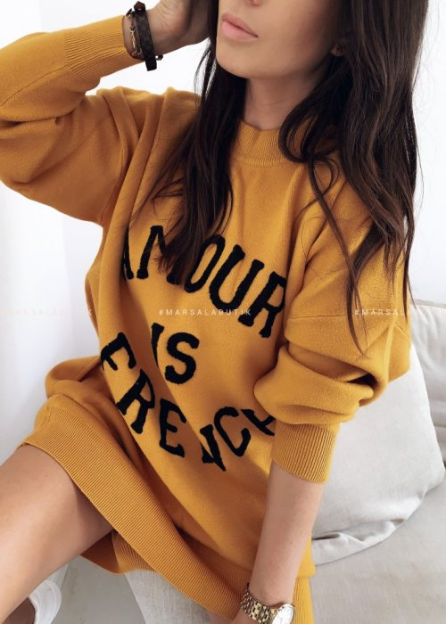 AMOUR IS FRENCH mustard sweater