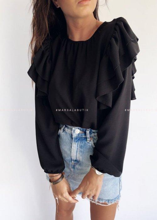 Bluzka z falbankami na ramionach czarna - TEA BY MARSALA