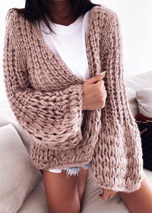 Sweter kardigan gruby pudrowy - CHUNKY