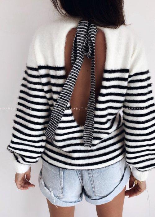 Sweterek w paski wiązany - LINEAR