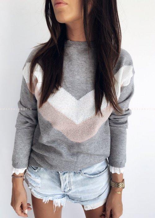 Sweter z wzorem i koronką szary - SLIGHT GREY