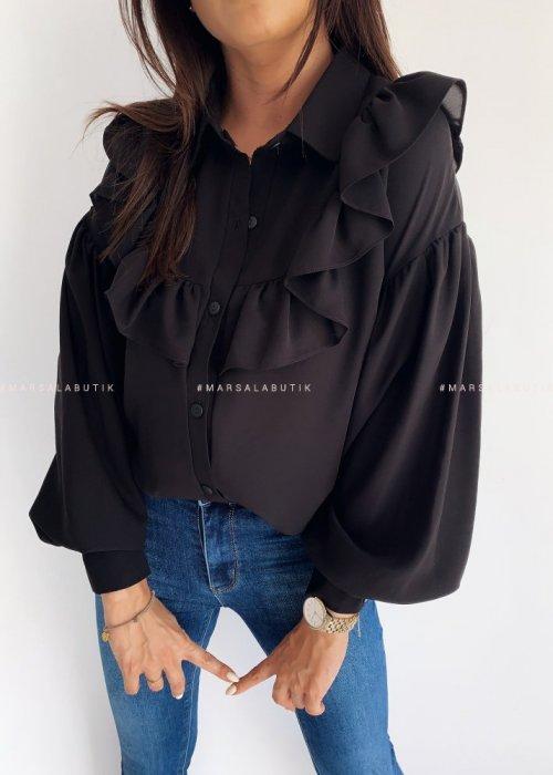 Koszula ROSEMARY z falbanką czarna