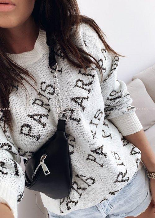 Sweter z nadrukiem Paris ecru