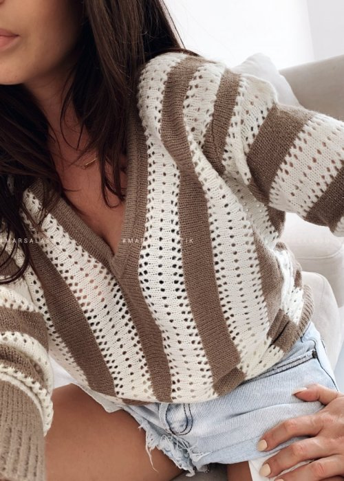 DOUBLE mocca striped sweater
