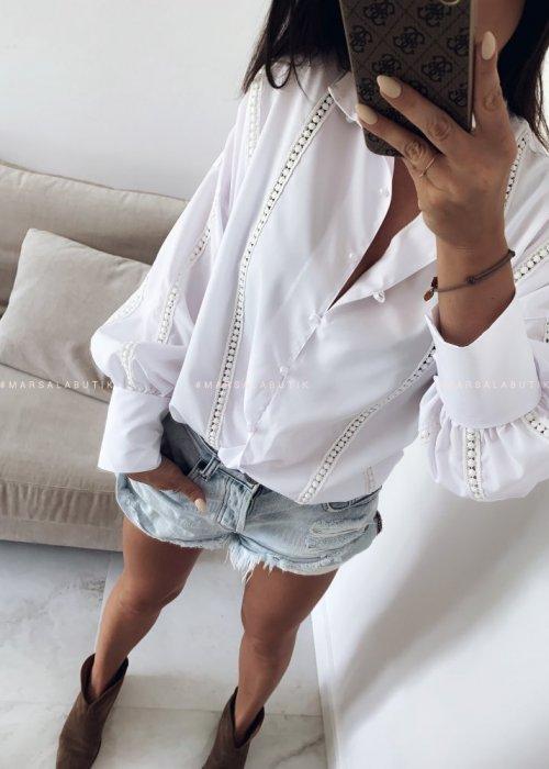 Koszula z wstawkami biała - MOONLIGHT
