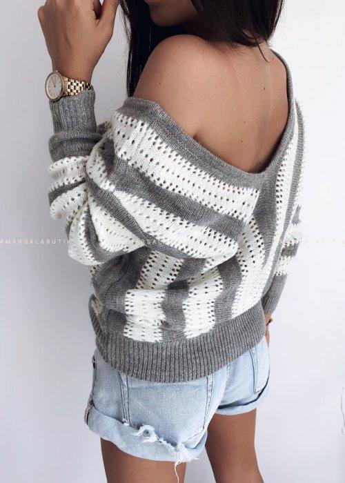 Sweter w paski szary DOUBLE