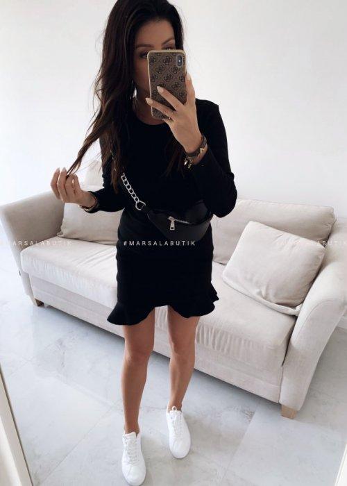 Sukienka mini z falbanką i długim rękawem w kolorze czarnym - DREAM BY MARSALA