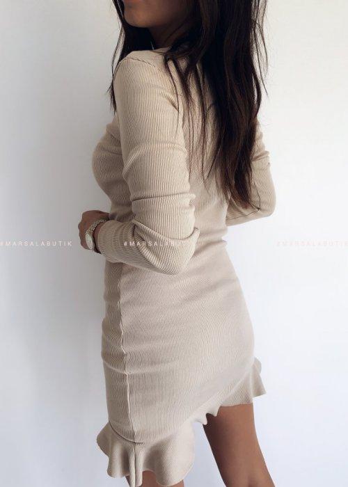 Sukienka mini z falbanką i długim rękawem w kolorze beżowym - DREAM BY MARSALA