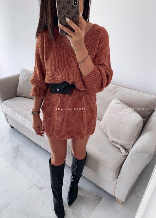 Sweter tunika w kolorze koralowym MARLON