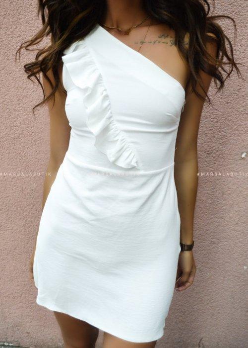 Sukienka SHE BY MARSALA na jedno ramie ecru