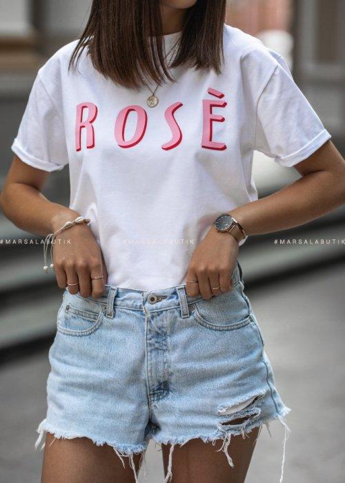 T-shirt ROSE biały
