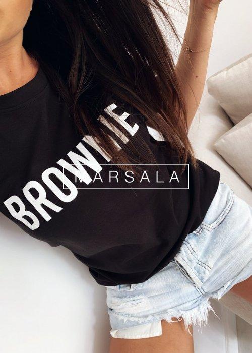T-shirt damski z krótkim rekawem w kolorze czarnym z nadrukiem BROWNIE