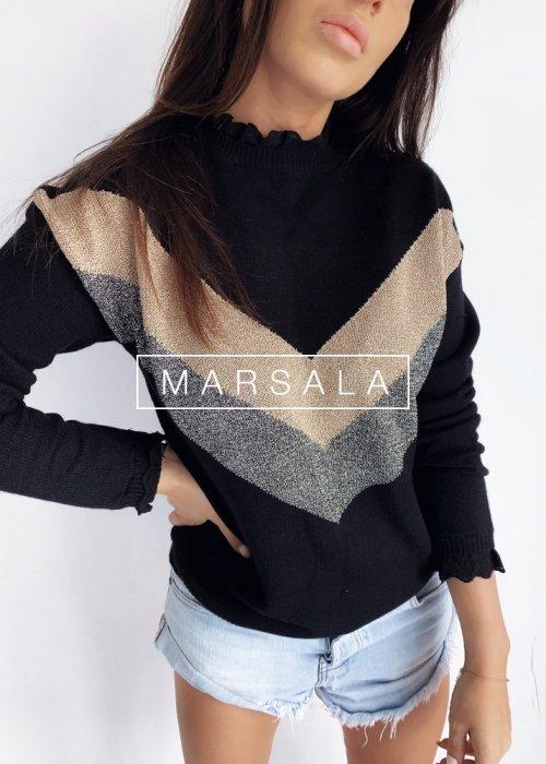 Sweter z wzorem i koronką czarny - SLIGHT BLACK