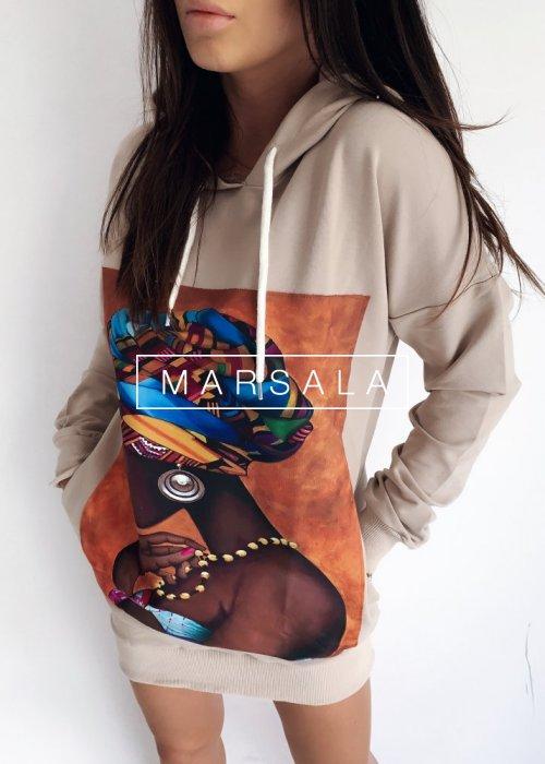 Bluza tunika z kapturem w kolorze beżowym - HEIDI BEIGE