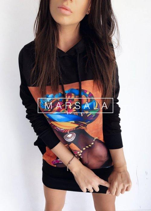 Bluza tunika z kapturem w kolorze czarnym - HEIDI BLACK