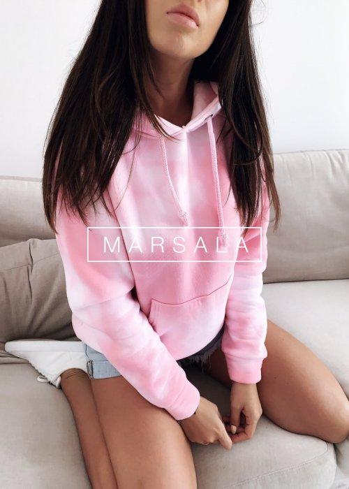Dekatyzowana bluza z kapturem w kolorze różowym SWEET CANDY