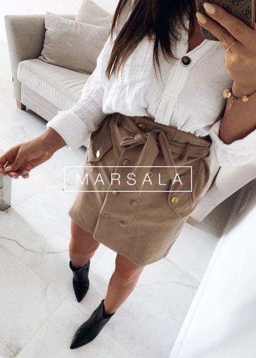 Spódniczka mini zamszowa w kolorze beżowym - SMOOTHIE