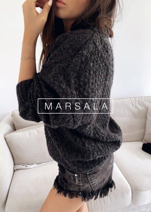 Ciepły sweter z grubej włóczki w kolorze czarny melanż - CASHEW BLACK