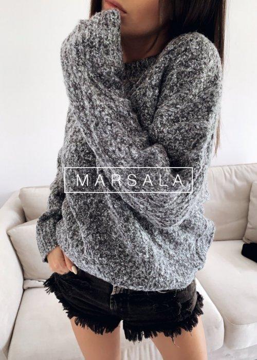 Ciepły sweter z grubej wlóczki w kolorze szary melanż - CASHEW GREY