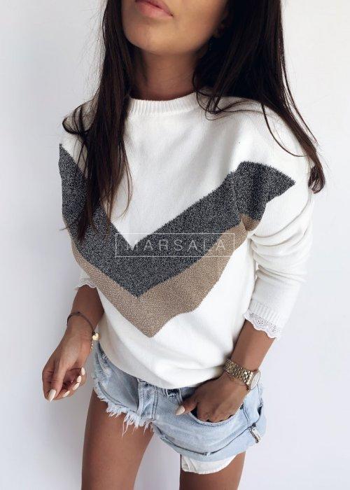 Sweter z wzorem i koronką ecru - SLIGHT ECRU