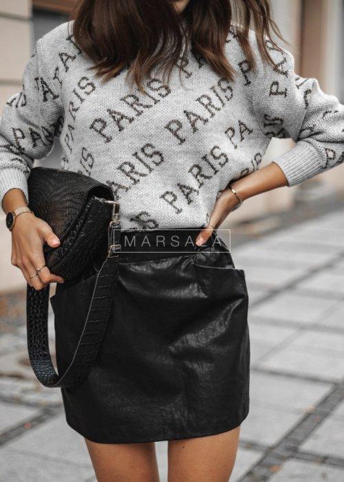Sweter z nadrukiem Paris szary